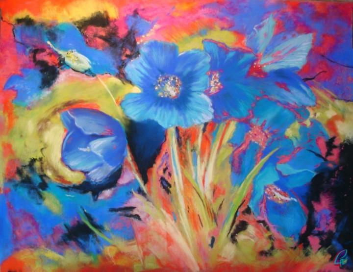 Fleurs bleues - 50x65